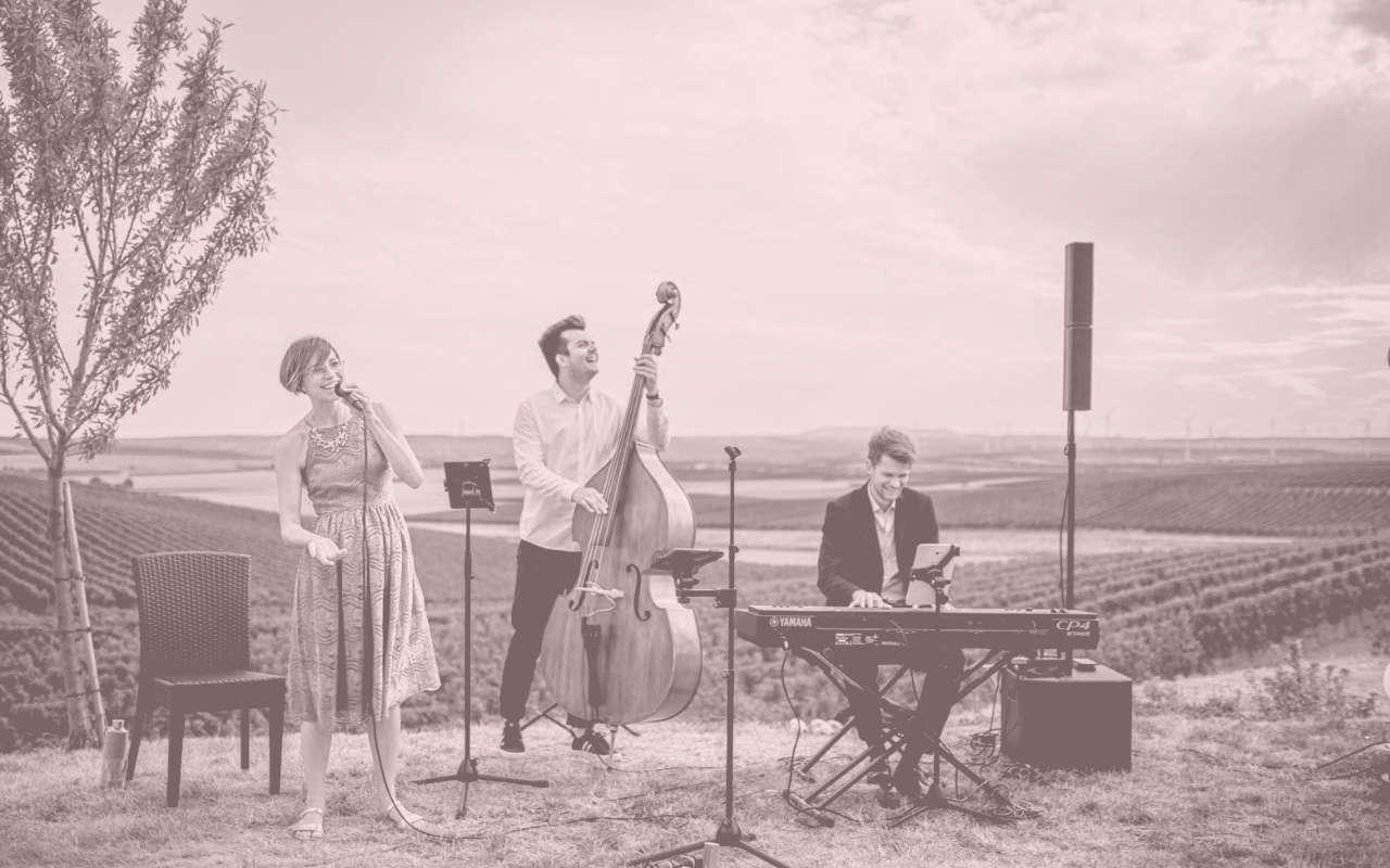 Trio Merlot Hochzeitsband aus Stuttgart live bei einer Trauung mit Musik im Rheinland